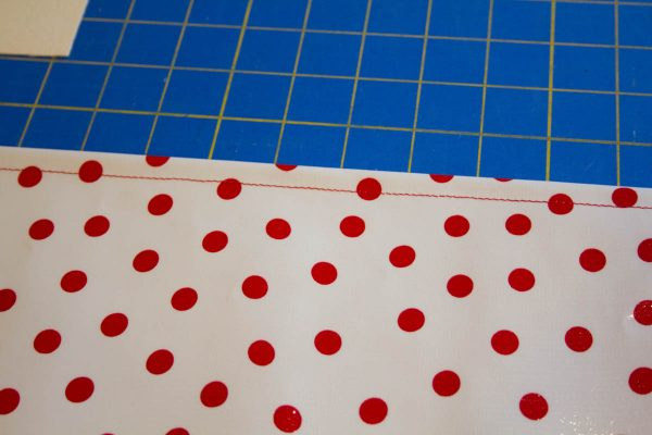 Oilcloth-lined Garden Tote Tutorial - preparing front and back outside pockets