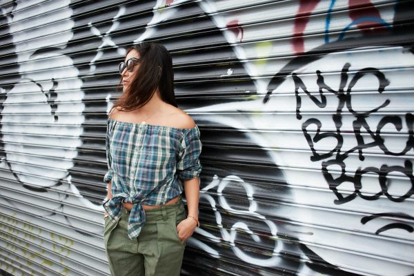Upcycled Off-The-Shoulder Shirt