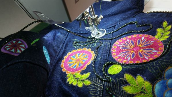 Embellished Denim Jacket-using the free-motion couching foot