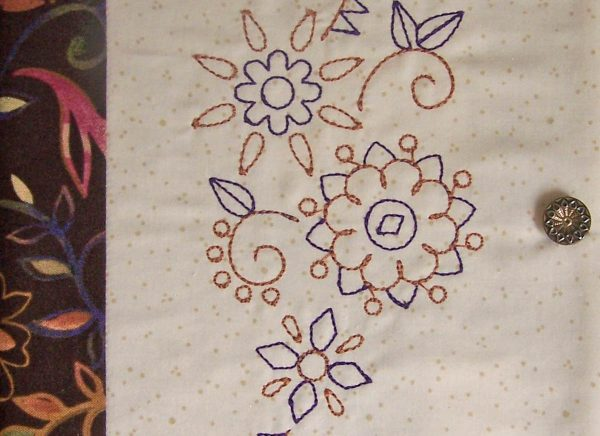 Embroidered Journal Cover-sew the button in place