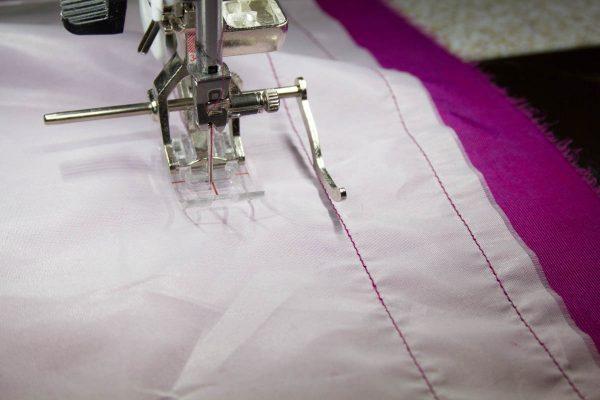 Textured Silk Velvet Scarf-stitching horizontal lines 1″ apart