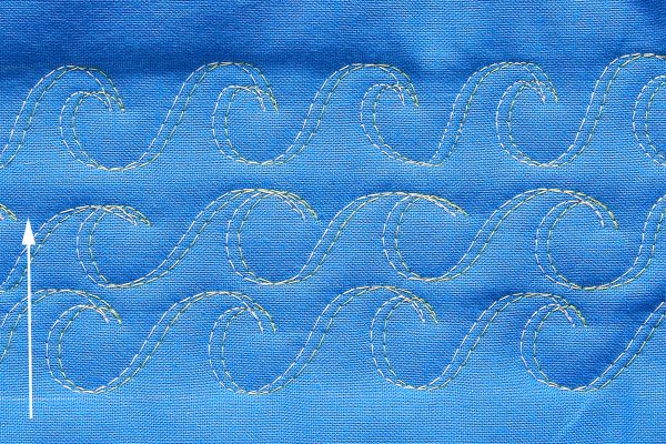 Double Needle Free Motion Quilting Making Waves