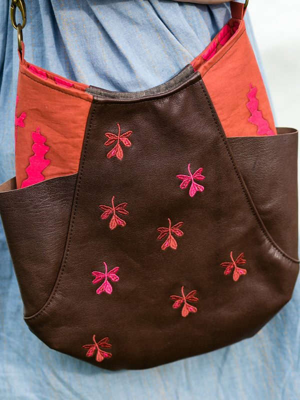 Embroidered Leather Bag with Leaf Design from Alison Glass Exlibris Design Collection