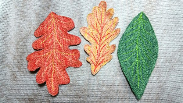 Free-motion stitched fall leaves