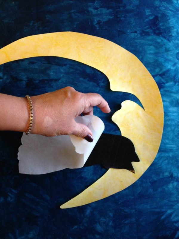 Moon Wall Hanging-Remove the paper from fusible web
