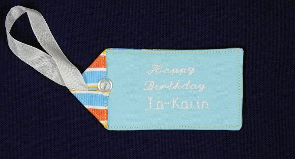 BERNINA WeAllSew blog personalized fabric gift tag