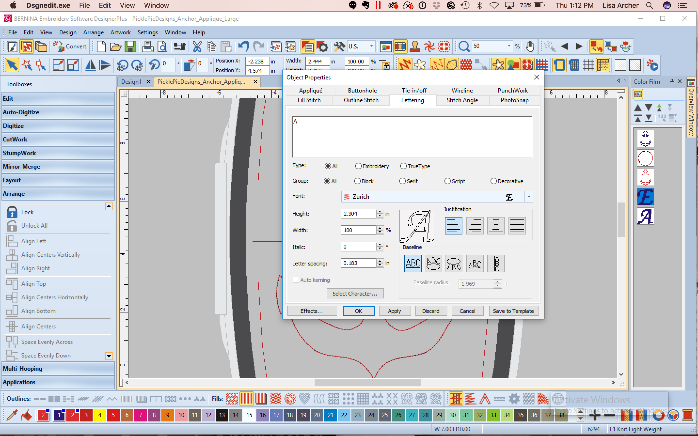 Double Click The Copied Letter To Open The Object Properties Window Change  The Letter, Anchors Embroidery