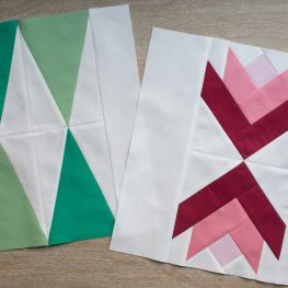 Modern Pine Trees and Poinsettias Quilt Blocks