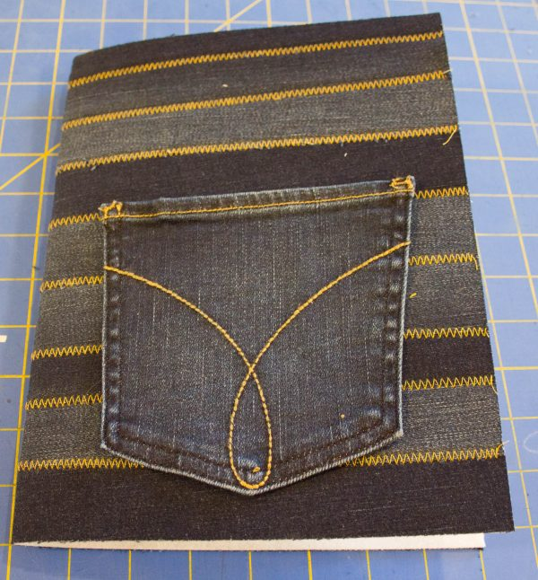 Jeans Composition Book Cover-Placement of Cover Pocket