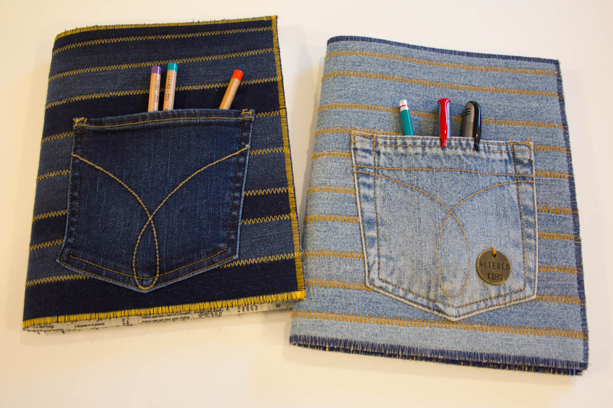 Fabric Composition Book Cover Tutorial ~ Recycled jeans composition book cover weallsew