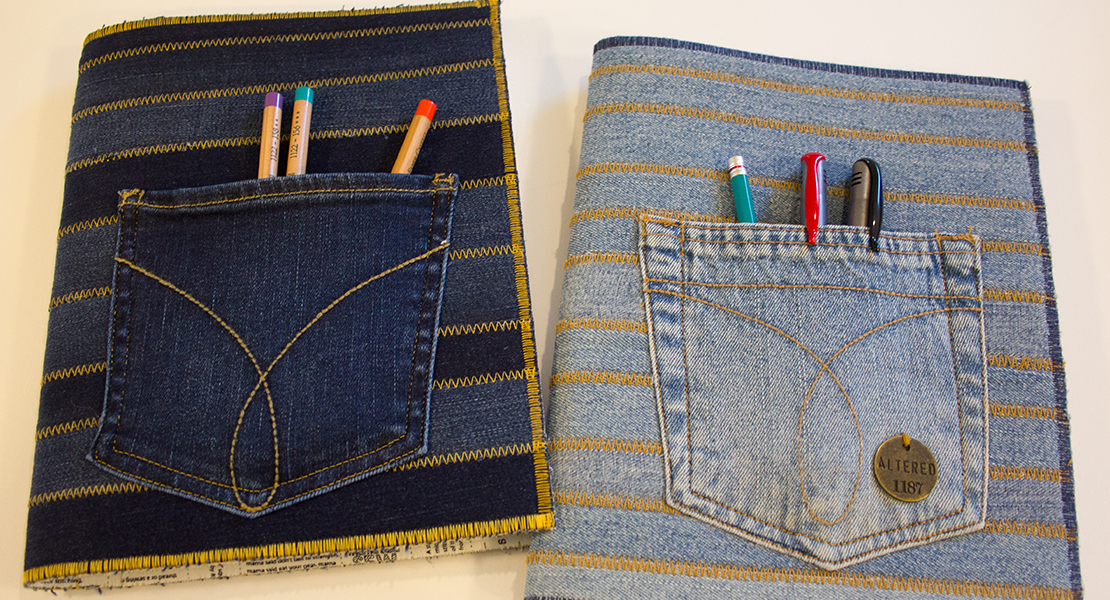 How To Make A Recycled Book Cover ~ Recycled jeans composition book cover weallsew