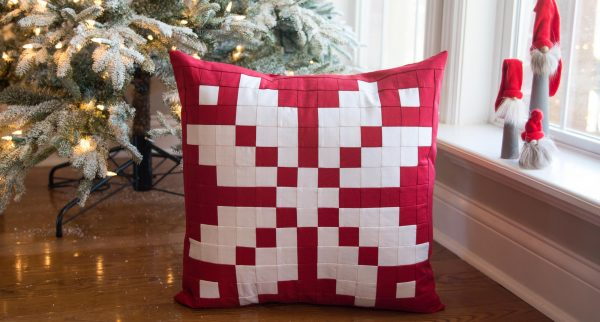 Patchwork Nordic Inspired Snowflake pillow pattern by Melissa Mortenson for WeAllSew