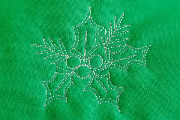 Free-motion Quilting Pine Boughs and Holly