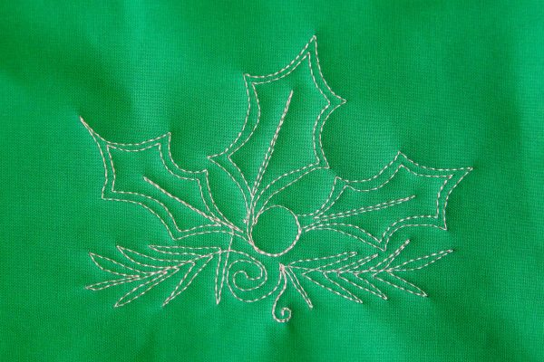 Free-motion Quilting Pine Boughs and Holly-combine holly, leaves and bouhgs