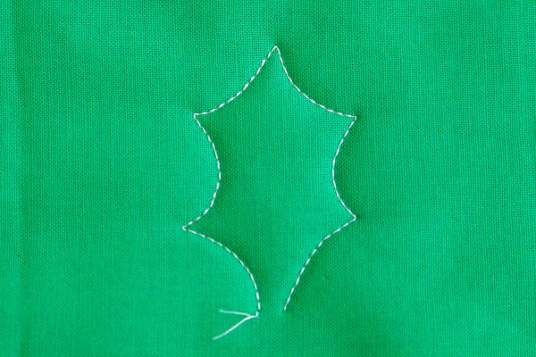 Free-motion Quilting Pine Boughs and Holly-Stitch the right side of the leaf