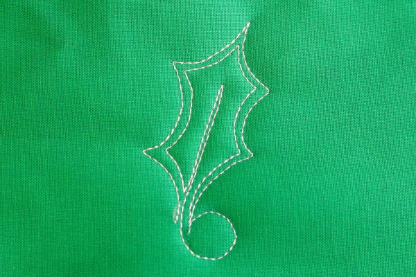 Free-motion Quilting Pine Boughs and Holly-Closely echo stitch the vein