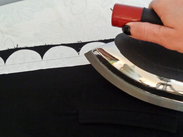 How to Add a Scalloped Edge Tutorial - Iron your template onto your fabric