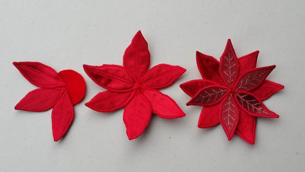 Poinsettia Pin-Placing the leafs