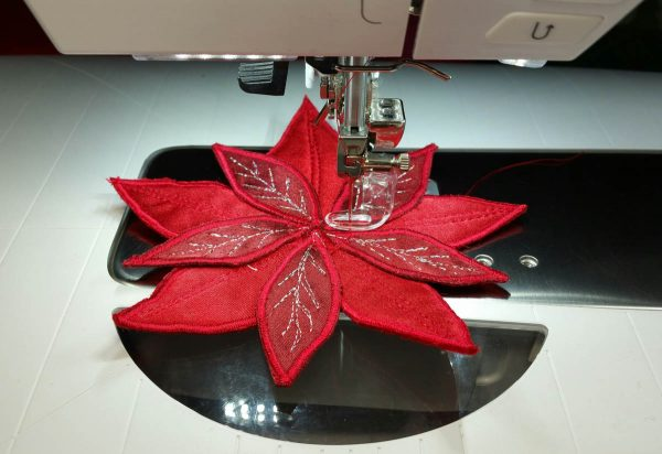 Poinsettia Pin-stitching the petals