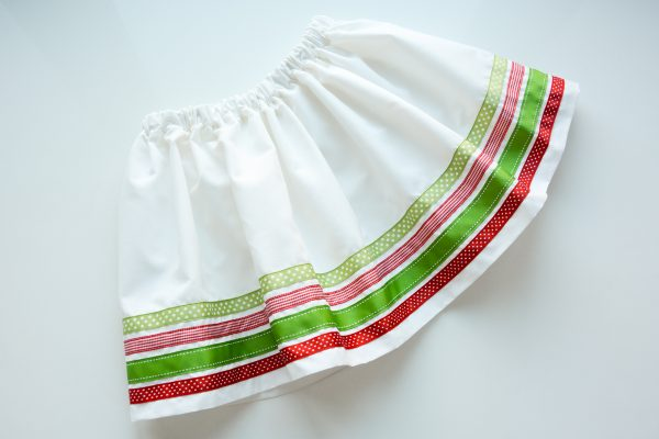 Ribbon Trimmed Christmas Skirt Girls-4895