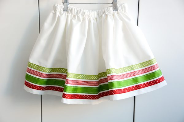 Ribbon Trimmed Christmas Skirt Girls-4906