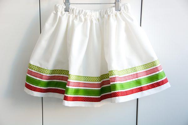 Ribbon Trimmed Christmas Skirt Girls-4906