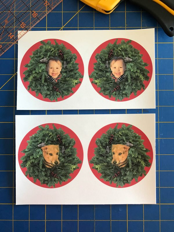 Stitched Photo Ornament-cut the four images into equal squares