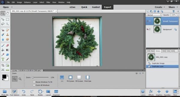 Stitched Photo Ornament-Open the picture of your wreath in PSE and make a duplicate
