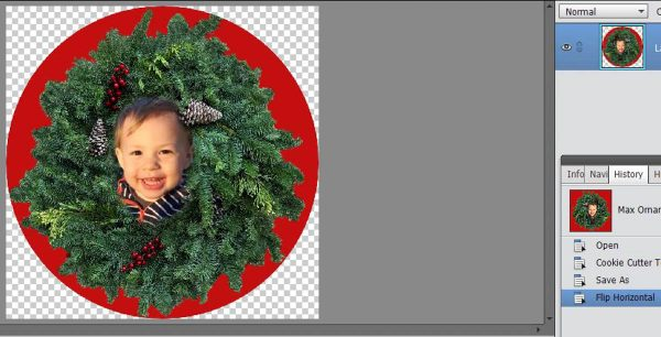 Stitched Photo Ornament-creating a mirror image