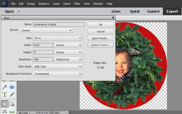 Stitched Photo Ornament-Open a new file with a transparent background