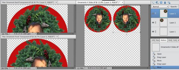 Stitched Photo Ornament-placing the images in the corners