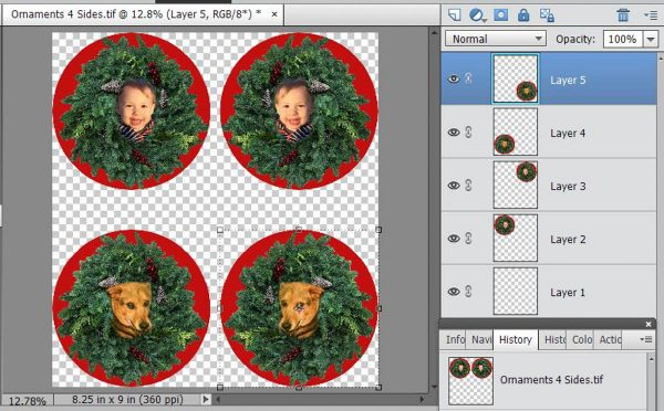 Stitched Photo Ornament-You can get four Ornament sides on one sheet of 8.5x11 inch inkjet fabric