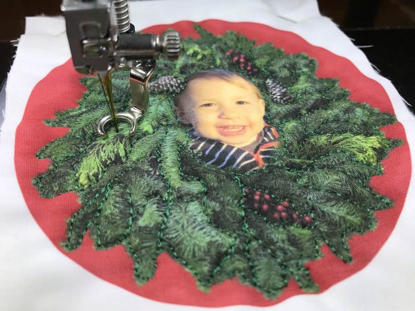 Stitched Photo Ornament-Stitching inside the wreath