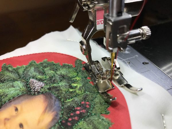 Stitched Photo Ornament-raising the feed dogs for straight stitching
