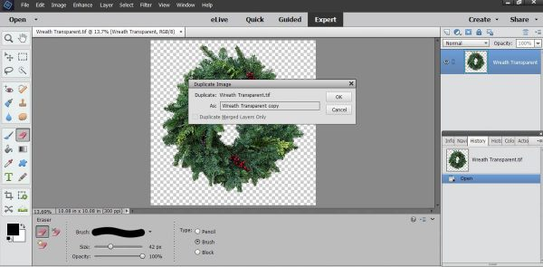 Stitched Photo Ornament-save the image of the wreath on a transparent background
