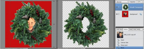 Stitched Photo Ornament-places both images on the screen together