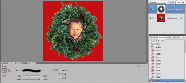 Stitched Photo Ornament-use the Move tool to reposition