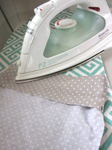 Reusable washable lunch bag Tutorial step seven: fold and iron the top if the lining