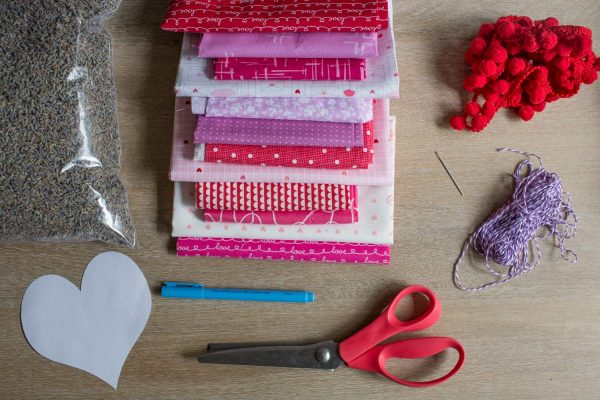 Lavender Sachet Heart Bunting Tutorial Supplies