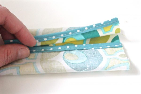 Tissue holder Tutorial Step six: fold fabric and overlap trim