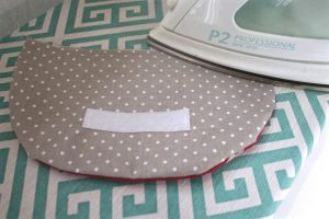 Reusable washable lunch bag Tutorial step ten: iron the flap