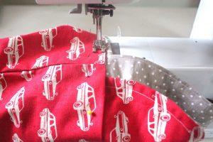 Reusable washable lunch bag Tutorial step nineteen: sew bag together