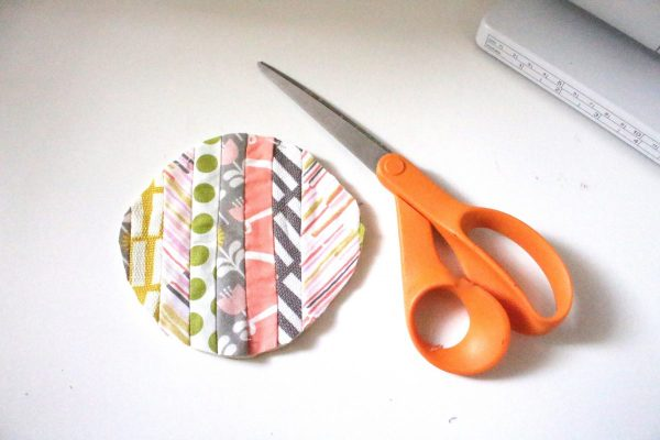Modern Patchwork Coasters Tutorial Step Nine: round the corners