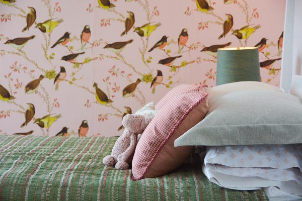Pink Gold Bird Bedroom-348