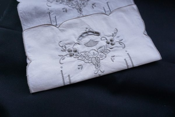 fold both sides at the edges of the embroidery