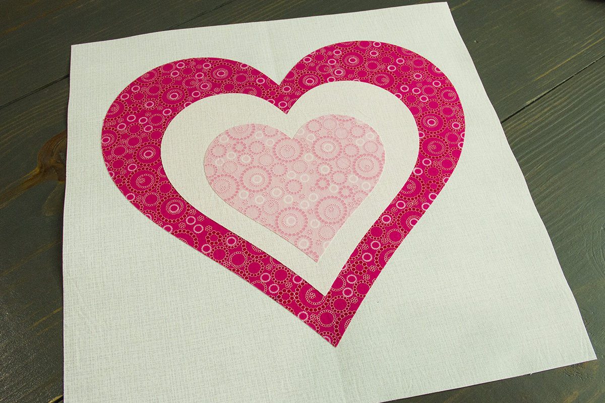 Be My Valentine Runner   Step 6 Fuse The Appliques Onto The Backgrounds  1200 X 800