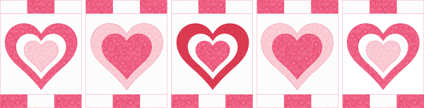 Be My Valentine Runner - Step 9 Sew Borders to appliqued backgrounds@4x