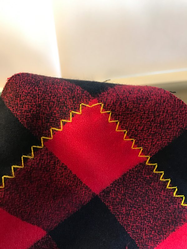 DIY Blanket Scarf-sewn corner