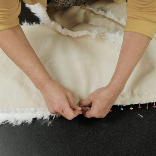 Faux Fur Vest Tutorial-place right sides of fur togehter