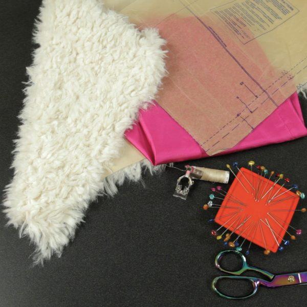 Faux Fur Vest Tutorial-materials to sew a faux fur vest